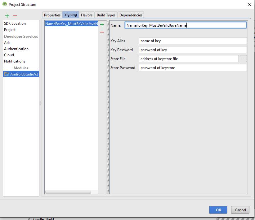 استفاده از کلید اختصاصی برای دیباگ برنامههای اندروید - بخش دوم، تعریف اطلاعات کلید اختصاصی